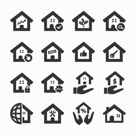 Real estate icons set 03. Purchase and sale of housing icons