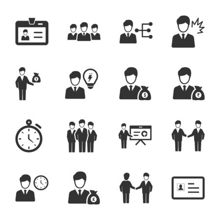 Business Management icons set 02 Vettoriali