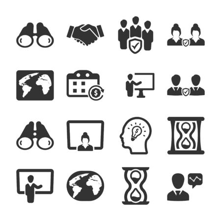 Business and management black icons set 04 Vettoriali