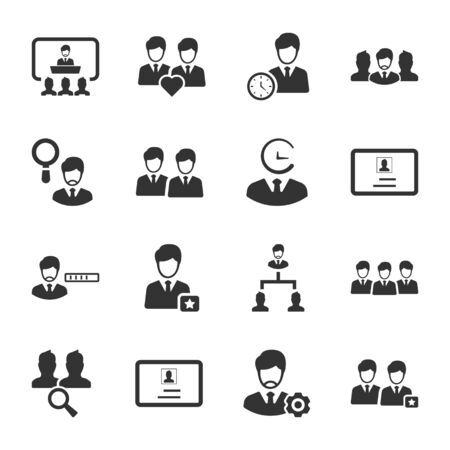 Business and management black icons set 03