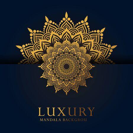Luxury ornamental mandala design background in gold color Vettoriali