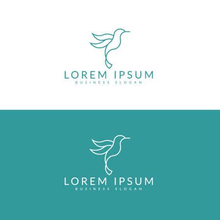 Colibri Logo. Minimalist Bird symbol design