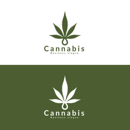 Marijuana - cannabis. For medical use. Vector, cannabis logo Archivio Fotografico - 153909648