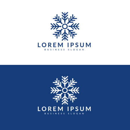 Snow Flake minimalist logo, Winter pattern snow ornament vector design.