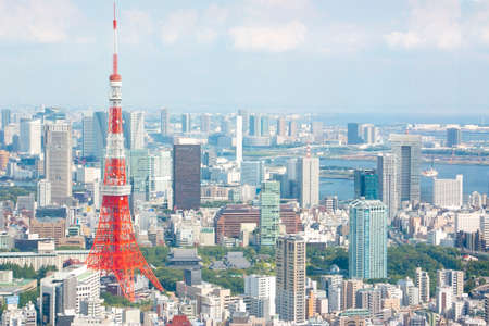 Tokyo, Japan - September 12, 2014: Tokyo Tower with skyline cityscape 報道画像