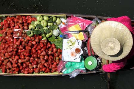 transact: Bird eye view floating market Stock Photo