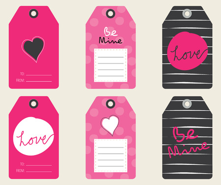 Set of Six Cute Valentines Day Gift Tags Ilustracja