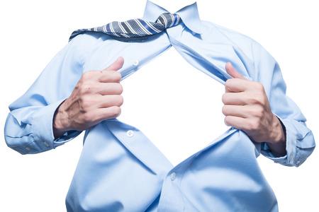 D'affaires montrant l'espace dans sa chemise isolé sur blanc Banque d'images - 41079137