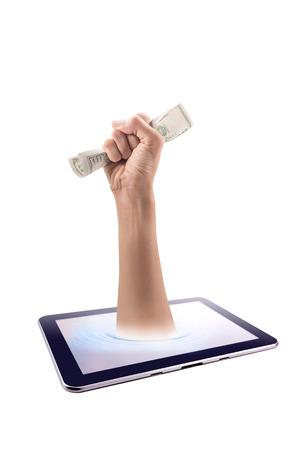 Hand catch a dollar bill popup from screen tablet. catching concep Standard-Bild