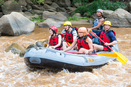 CHIANG MAI THAILAND  MAY 17 : White water rafting on the rapids of river Maetang on MAY 17 2015 in Chiang Mai Thailand. Maetang river is one of the most dangerous rivers of Thailand.