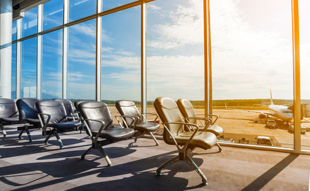 airport window: Departure lounge at the airport Stock Photo