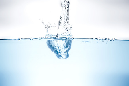 Blue water wave and bubbles to clean drinking water.