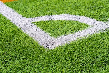 Soccer field grass corner,Green artificial grass Stock Photo