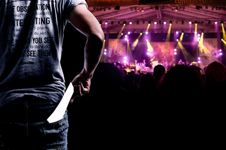 Audience presenting tickets or admission passes watch a concert