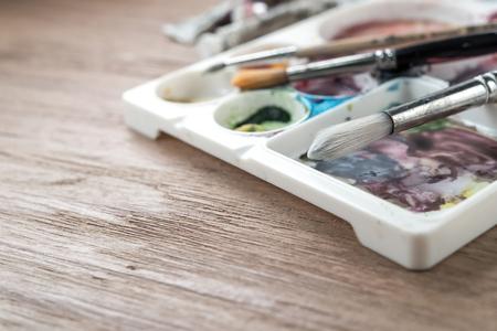 paint box: Paintbrushes and paint box