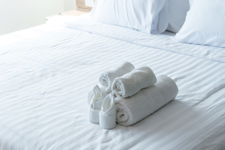 white bath towels in bed room, Room service