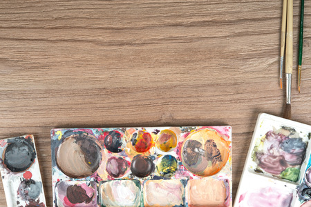 paint box: Paintbrushes and paint box, artist tools