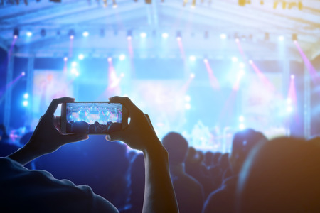 concert audience: engage your audience with the power of social network Stock Photo
