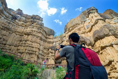 rinsing: Tourist at Pha Chor canyon in Mae Wang National Park,Chiang Mai,Thailand
