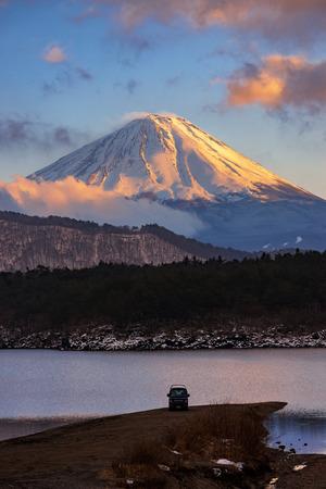 saiko: Mount Fuji in sunset at Lake Saiko in Winter, Japan