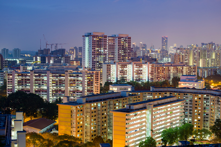 residential home: Home and residential building in Singapore, night scene