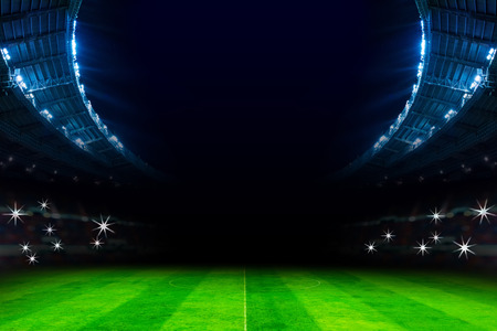 lights in soccer stadium at night match Banque d'images
