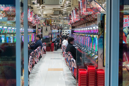 widely: TOKYO, JAPAN - 16 NOV 2015 - Pachinko Parlor slot in Japan widely used as a recreational and gambling device