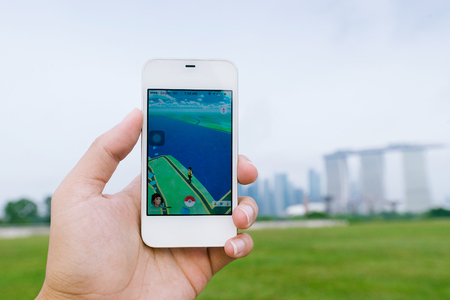gameplay: SINGAPORE, SINGAPORE - AUG 8, 2016: Pokemon Go gameplay screenshot on the phone. Pokemon Go is a location-based augmented reality mobile game. Editorial