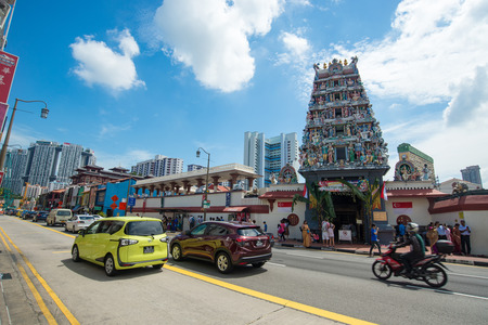 SINGAPORE, SINGAPORE AUG 5: Sri Mariamman Temple at Singapore 51st national day parade celebration on 5 August 2016 in Singapore Editorial