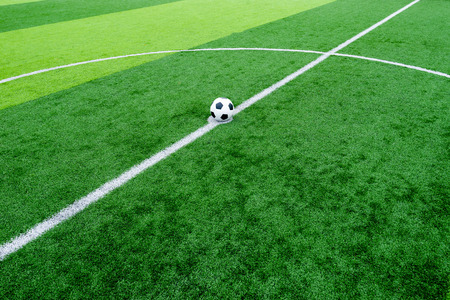 kick off: soccer field grass with ball at kick off point