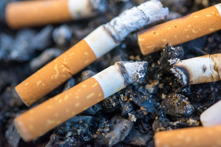 Ashtray and cigarettes close-up.
