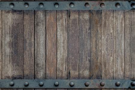 목재 나무 갈색과 오래 된 금속 패널 문 디자인에 배경 질감