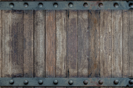 Timber wood brown and Old Metal panels texture background on door design Stock fotó