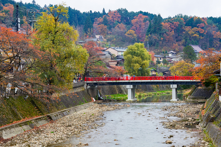 Red Nakabashi Bridge of Takayama in autumn season, Japan