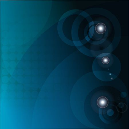 Abstract illustration of circles in a blue gradient with sun glares