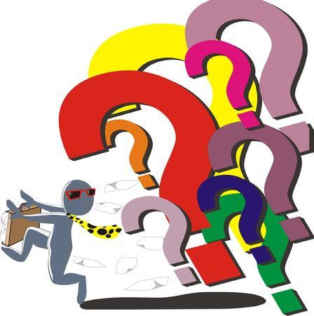 inquiry: illustration of a man running away from question marks