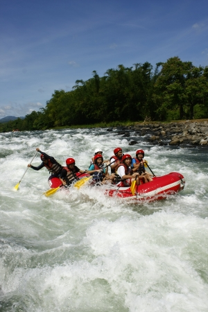 rapid: Cagayan De Oro, Philippines, June 5, 2009.  White water rafting in Cagayan De Oro, Mindanao, Philippines