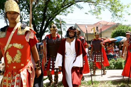 Cainta, Rizal, Philippines. March 29, 2013. Actors in a re-enactment of Christ's crucifixion and death. A tradition in the Philippines called