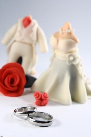 Wedding Rings and Miniature Couple Fondant Cake photo