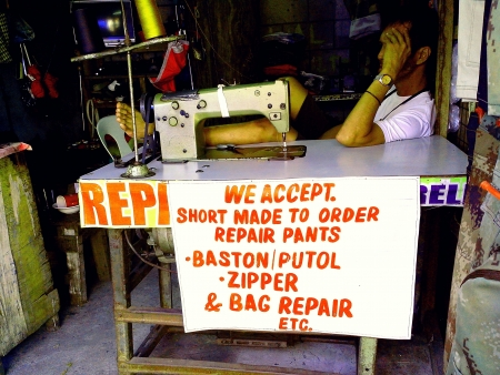 pants: Tailor at his repair shop