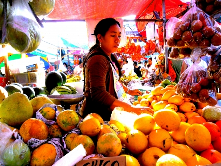 Round shaped fruits sold as people buy them to welcome the new year as part of filipino tradition