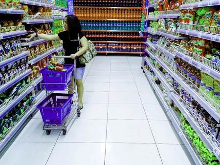 Consumers inside a grocery store