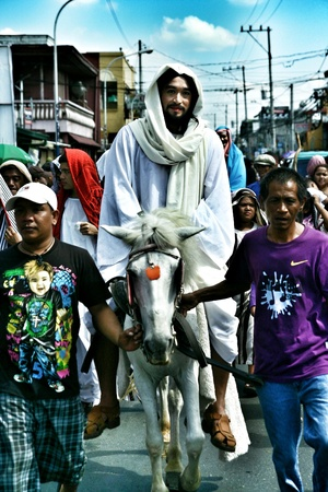 penitence: Characters in the reenactment of the death of jesus christ in cainta, rizal, philippines
