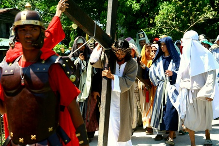 penitence: Catholic devotees reenact the death of jesus christ in cainta, rizal, philippines on good friday