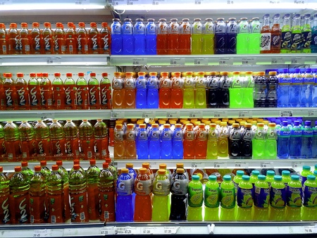 fruit juice: Fruit juice and energy drinks sold at a grocery