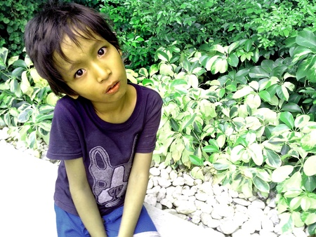 pocket: Asian girl sitting by a plant box or pocket garden