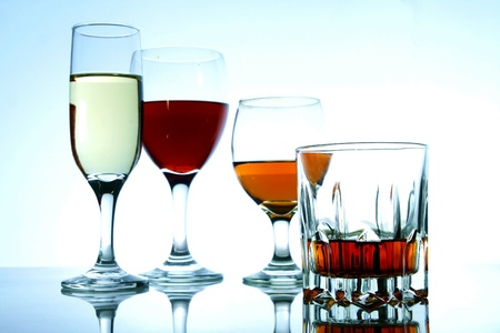 fortified: Different types of alcoholic drinks in glasses and goblets
