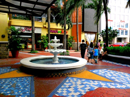 tile: Bars, restaurants and a fountain in Eastwood city in quezon city, philippines, asia