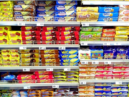Different crackers and biscuits in a grocery Stock Photo