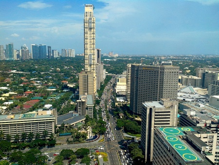 arial: Arial view of makati city in philippines, asia